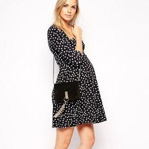 ASOS Black & White Polka Dot Faux Wrap Dress 6